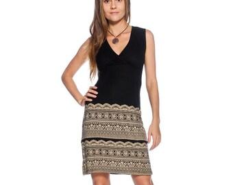 Black cotton dress with white an ornament, Knee length dress, Casual dress, Office dress, Day dress, Dress for work, Elegant dress, Dresses