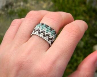 Boho ring Bohemian ring Boho band ring Boho style jewelry Ethnic peyote ring Zigzag beaded ring Bohemian jewelry Seed bead ring Ethnic ring