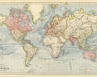 World Map Printable Digital DownloadVintage World MapOld - Large world map print out