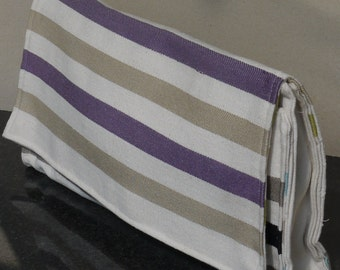 Clutch made of striped cotton