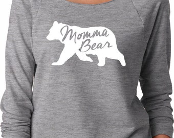 Momma Bear Terry Raw Raglan  - Women's Raglan - Momma Bear