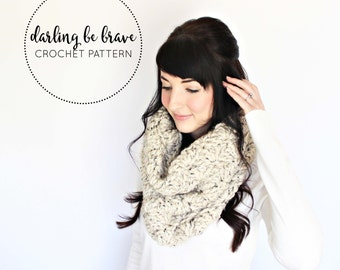 DELILAH | crochet cowl scarf pattern and tutorial, women's winter hooded scarf, picture tutorial, chunky yarn, pdf file, instant download