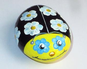 Happy Ladybug ,Hand Painted Stone