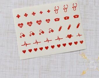 Nurse Heartbeat Glitter Vinyl Nail Decals, Nurse Gift, RN Decal