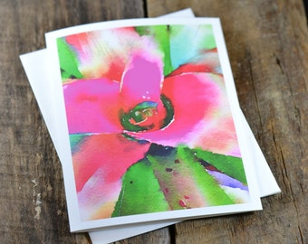 "Watercolor Photo Card, Birthday, Get Well, Thinking of You, Thank You, Wedding, Occasion, Holiday, Anniversary – Title of Card – ""Bromeliad"""
