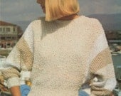 Womens Dolman Style Sweater PDF Knitting Pattern  Ladies 32 34 36 and 38 inch bust . Bat Wing Sleeves . Jumper . Digital Download