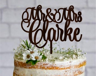 Last Name Wedding Cake Topper Wood Wedding Topper Personalized Rustic Cake Topper Gold cake topper Silver cake topper