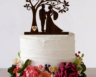 Tree Wedding Cake Topper Personalized Monogram Cake Topper Wooden Rustic Cake Silhouette Cake Topper topper