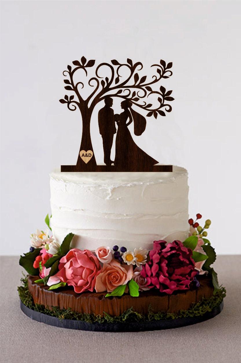 tree wedding cake topper personalized monogram cake topper. Black Bedroom Furniture Sets. Home Design Ideas