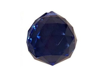Blue Faceted Crystal Ball ~30mm, ~1 1/4""