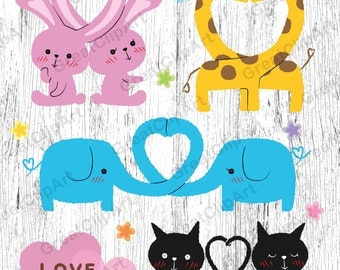 6 Couple, Animal love clipart, Kids Animals clipart, animals clipart, Kids clipart, animals kids clipart, digital animals,scrapbooking clip