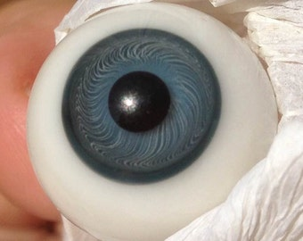 Antique Doll Paperweight brilliant Blue Glass Eyes 18mm
