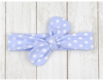 Baby headband knotted bow loop topknot blue white dotted hair accessory baby girls ILA - isn't life amazing