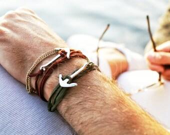 Mens gift Anchor bracelet Stainless steel, father's day gift, Men gift bracelet, Blue red green suede bracelet, Gift for men, boyfriend gift