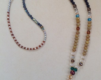 Multi color gems and crystal necklace