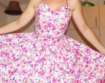 Pinup dress 'Orchid' stunning rockabilly dress, gathered skirt dress