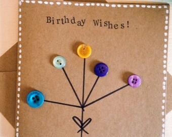 Handmade Button Bouquet Stamped Birthday Card
