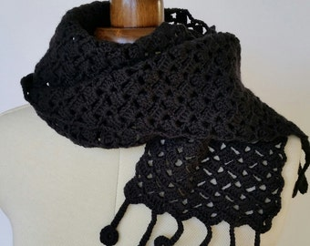 Black crochet scarf, lacy crochet design with fringe, soft wool cotton blend scarf, women's or men's accessory