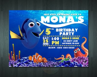 FINDING DORY BIRTHDAY Invitation  | Digital Item | No item will be shipped