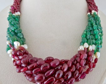 Unique Best 850 Carats Natural EMERALD RED SPINEL Pearl Long Beads Bunch Necklace