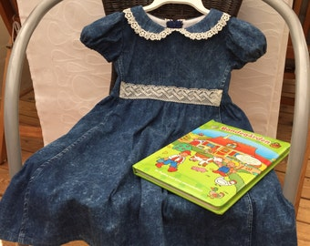 Girls vintage denim dress, girls dress, girls fall-winter dress, toddler birthday dress, girls dress size 5, Peter pan collar, one of a kind