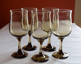 Set of 5 Vintage Smokey Amber Glass Stemware/Dinner Glasses / Vintage Glassware