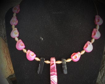 Pink and black stone and skull necklace 087