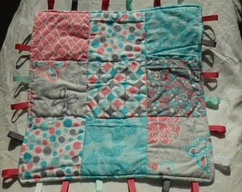 Pink and Teal Tag Blanket