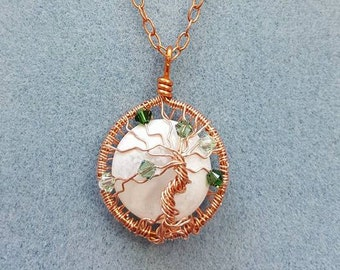 Tree of Life Necklace, Copper with White Glass