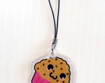 Cute Choc Chip Muffin Kawaii Acrylic Phone Charm 1.5""