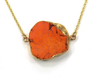 Dark Coral Howolite Necklace