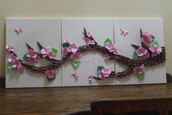 Cherry Blossoms Origami Sakura Wall Art Japanes Asian Zen