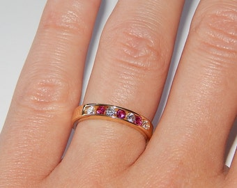 14k yellow gold ring ruby and 1/3 CZ