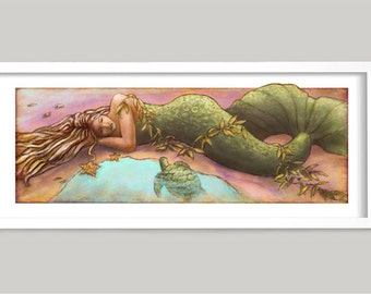 Sleeping Mermaid, Mermaid Art, Beach House Art, Powder Room Art, Tropical Art, Beach Art