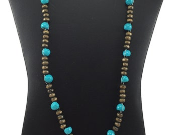 Turquoise and  Brown Necklace with matching Earrings