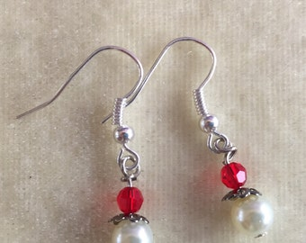 Red and white drop earring