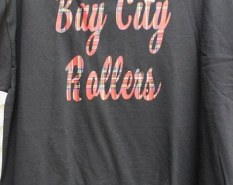 Bay City Rollers T-shirt with Tartan lettering