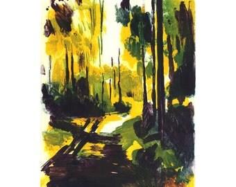 G-04 Monotipe Original Printmaking Forest