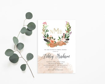 Printable Bridal Shower Invitation /  Shower Invite, Boho Invitation, Wedding Shower, Monogram, Ashley