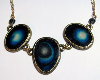 Vintage Blue Agate Geode Slices Necklace Brass Tone Double Chains Adjustable Length 17 - 20.5 ""