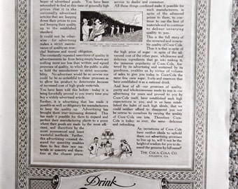 1917 Woman's Home Companion Coca Cola Coke Ad Advertising and the Quality Deco
