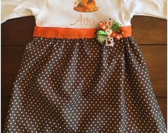 Owl in Leaves Baby Dress, Baby Fall Dress, Baby Thanksgiving Dress, First Thanksgiving Dress,  Baby Pumpkin Patch Dress, Baby Owl Dress