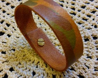 Decoupaged Camouflage Leather Bracelet