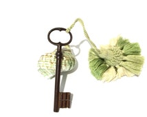 Skeleton key with passementerie tassel . French home decor. Ornaments large key. French Chateau .  Wrought iron  skeleton key