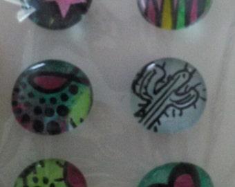 Handmade Glass Magnets. Set of 6