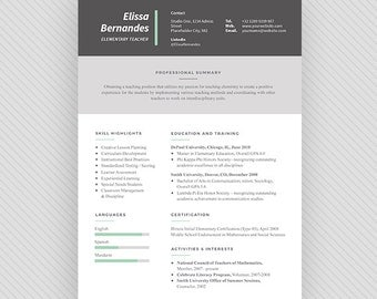 TEACHER Resume Template / CV Template + Cover Letter for MS Word and Photoshop | Instant Digital Download