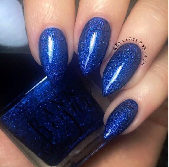 Blue Nail Polish Names: PERFECT BLUE Blue Glitter Nail Polish Nail Lacquer Luxury