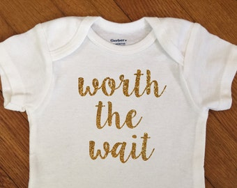 SALE! Glitter Worth The Wait Shirt, Just Born Baby Outfit, Sparkly Bodysuit, Infant Onesie®, Baby Shower Gift, Newborn, Hospital, Going Home