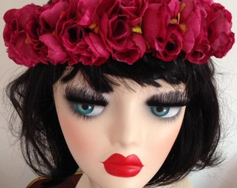 Crown Flowers Headband Pink Wedding Coiffe Fleurs