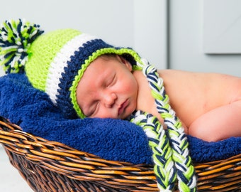 Crochet Baby Hat with Pom Pom and Tassels Any Color